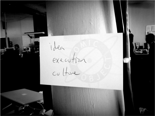 """Idea, Execution Culture"" Written on a note card"